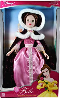 Disney Princess Brass Key Keepsakes Year 2003 Beauty and The Beast Collectible 16 Inch Porcelain Doll - Royal Holiday Edition Belle with Pink Dress, Hooded Cape with Faux Fur Trim and Earrings