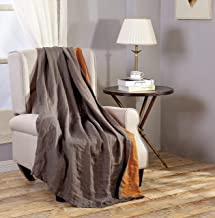 Chezmoi Collection Brussels Super Soft Lightweight Pre-Washed Belgian Flax Linen Reversible Throw Blanket, 50
