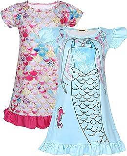 فستان كاجوال Coralup للفتيات الصغيرات بعبوة (2 حورية البحر،A1،6-7 سنوات)