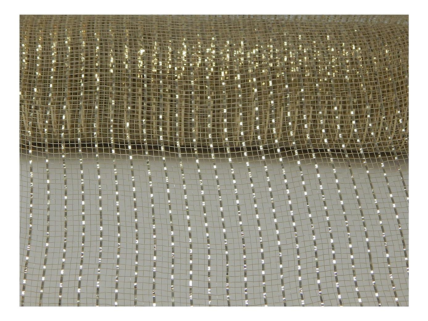 Floral Supply Online - 10 inch x 30 feet Metallic Deco Poly Mesh Ribbon (Light Gold, 10