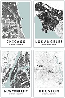 Spitzy's Map Posters, 11x17 Inches, Set of 4, Modern Wall Art, Major Cities of The United States, Black and White Color Scheme, Printed