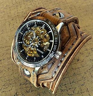 7ae3b5952 Steampunk Leather Wrist Watch, Rustic Men's watch, Skeleton Leather Cuff, Bracelet  Watch,