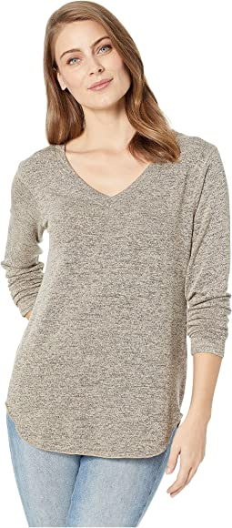 V-Neck Long Sleeve French Terry Shirttail Top
