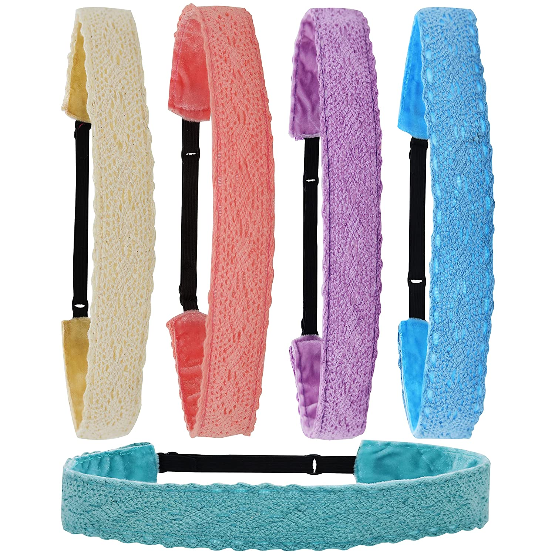 FROG SAC 5 Lace Headbands for Girls, Adjustable Non-Slip Elastic