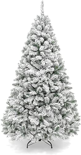 Best Choice Products 6ft Premium Snow Flocked Hinged Artificial Pine Christmas Tree Holiday Decor w/Metal Stand