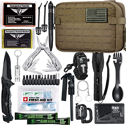 EVERLIT [Advanced] Emergency Survival Kit Gear Tool First Aid Kit SOS Emergency Tactical Flashlight Blanket Bracelets Compass with Molle Pouch for Camping Adventures