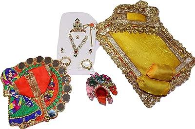 NS LADDOO Gopal SHRINGAR Accessories, Combo, Includes GOLE POSHAK, HAR MUKUT Set, Bansi, GADDI TAKYA Set for LADOO Gopal Size 1 NO, Designer POSHAK Set for BAL Gopal Free Attar