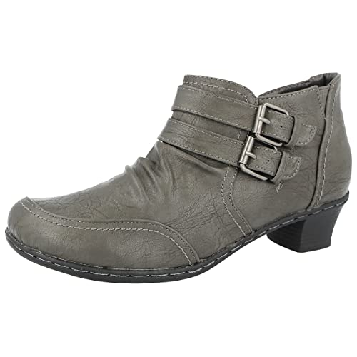 Ladies 225313 Faux Leather Double Buckle Low Block Heel Pixie Ankle Boots  Size 3-8 74b43653d5