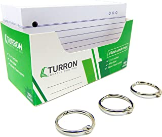 Turron One Side Ruled Index Flash Cards Tray - 3x5 inch, White, 150 Cards, 200 GSM - with Free Binder Rings for Short Note...
