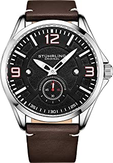 Stuhrling Original Mens Leather Watch -Aviation Watch, Quick-Set Day-Date, Leather Band with Steel Rivets, Men Watch Collection (Black Silver)