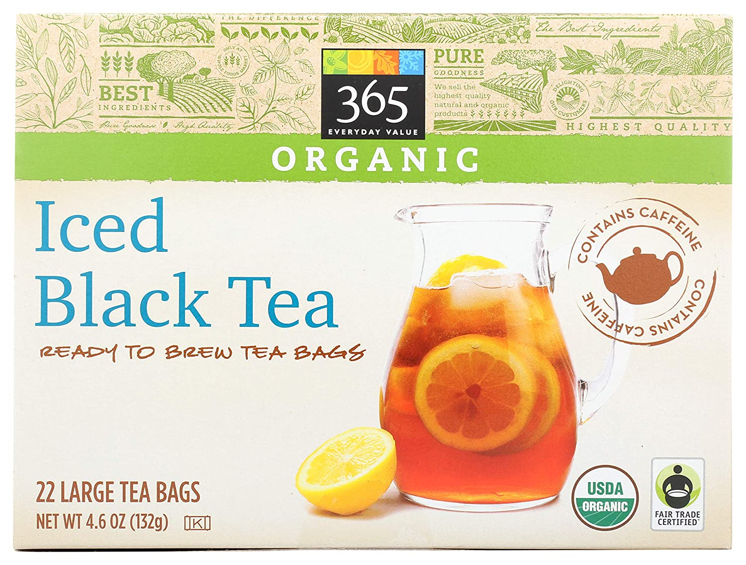 365 by Whole Foods Market Tea Organic Manufacturer SEAL limited product direct delivery Black Pack 22 Iced