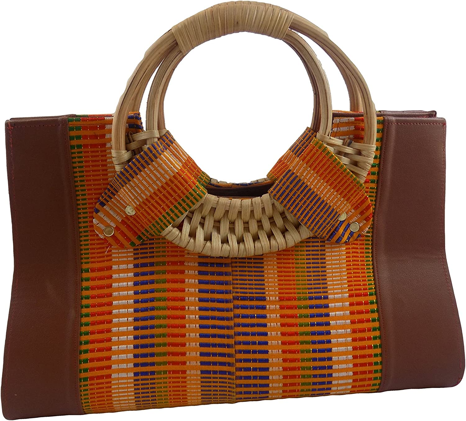 Fab Ladies' Genuine Leather Handbag with Original Kente Material