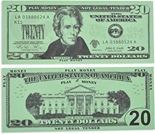 Learning Advantage Twenty Dollar Play Bills - Set of 100 $20 Paper Bills - Designed and Sized Like Real US Currency - Teach Currency, Counting and Math with Play Money