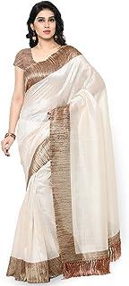 Rajnandini Women's Tussar Art Silk Woven Saree (Free_Off White)
