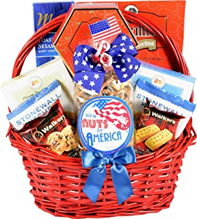 Gift Basket Village The All American Gift Basket - Patriotic Gift Basket with Gourmet Snacks to Celebrate and Honor Our Gr...