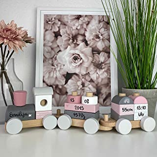 Kidslino Holz Eisenbahn rosa - personalisierbar I Geschenk zur Geburt Mädchen I Handmade Holzspielzeug mit Steckformen I P...