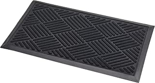 Addis Thirsk Door Mat Highly Absorbent 100% Polypropylene Parquet Design Pile-70 x 40 cm-Black, 70_x_40_cm