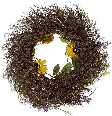 """DII CAMZ37427 Decorative Seasonal Wreath Spring/Summer, Front Door or Indoor Wall Décor, 22""""Diameter, Sunflower"""