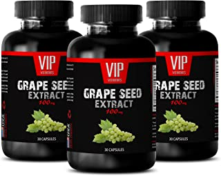 Blood Pressure lowering Supplement - Grape Seed Extract 100 MG - Grape Seed Supreme - 3 Bottles 90 Capsules
