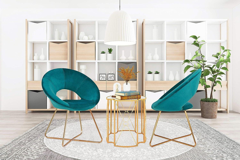 HNNHOME® Porto Chaise de cuisine rembourrée en velours doux pour la maison, le salon, la détente, pieds dorés Bleu Sarcelle