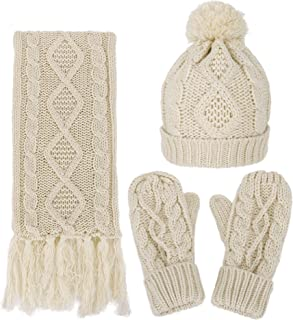 ANDORRA 3 in 1 Women Soft Warm Thick Cable Knitted Hat Scarf & Gloves Winter Set