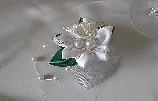 Pettine Pettinino Pettinini acconciatura sposa kanzashi bianco con perle e foglie