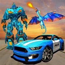 La policía de EE. UU. Transforma los juegos de automóviles con robots dragón para niños - volando la guerra de dragones de fuego 2018