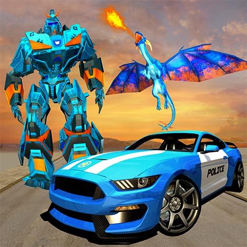 US-Polizei transformieren Dragon Robot Car Games für Kinder - Flying Fire Dragon Krieg 2018