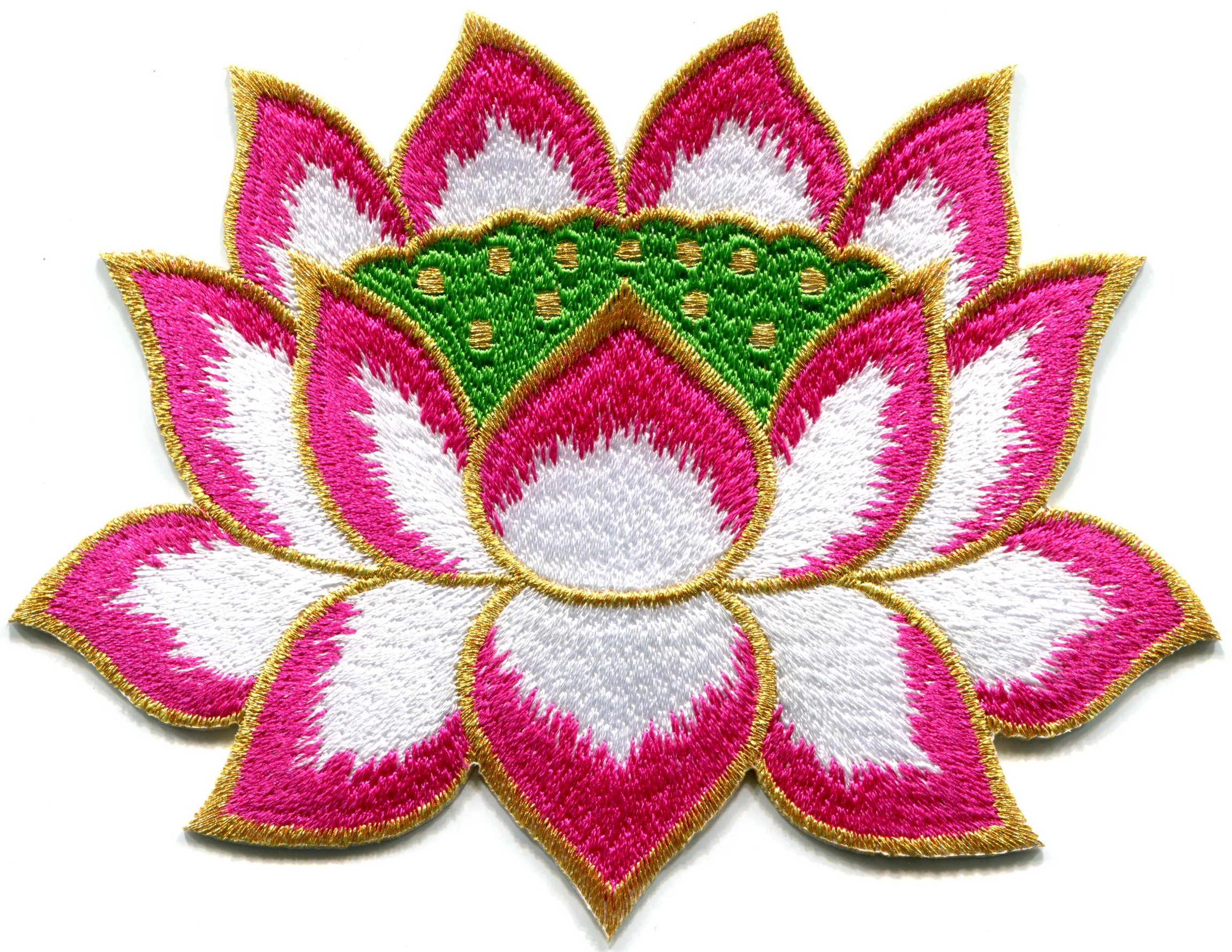 Lotus Flower Buddhism Guanyin Pink with Gold Trim Embroidered Applique Iron-on Patch S-1246