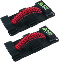 Alien 4x4 Jeep Grab Handles - Premium Paracord Jeep Grab Handles 3 Velcro Straps Easy to Install (Pack of 2) (Cherry Red)