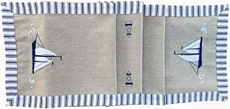 Eight Owls Nautical Table Runner - Cotton Decorative Embroidered Design – Natural, Navy Blue and White - Coastal Sailing Boat (72 Inch)