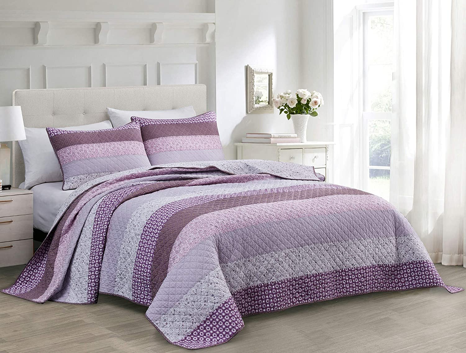 Coastal Paisley Coverlet Chezmoi Collection Galon 3-Piece Pre-Washed Cotton Patchwork Striped Quilt Set Lightweight Reversible Bedspread King Size