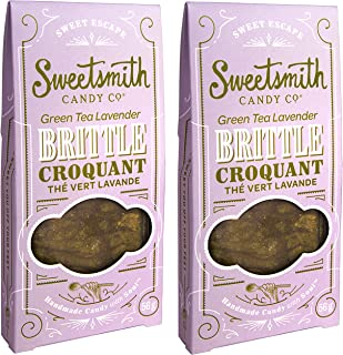 Sweetsmith Candy Co. Green Tea Lavender Brittle – Handmade, Nut-Free, Gluten-Free, Egg-Free, Soy-Free, Vegan and Dairy-Free (Green Tea Lavender, 2 Pack)