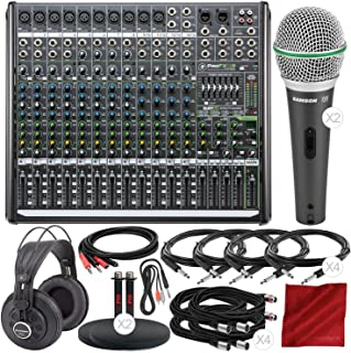 Mackie PROFX16V2 16-Channel Compact Mixer with Built-In Effects and Platinum Studio Accessory Bundle with 2 X Samson Dynamic Microphone + Studio Headphones + Cables + Much More