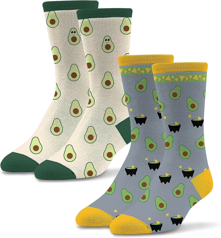 Socktastic womens Avocado - 2 Pack of Funny Novelty Socks, Casual Crew Fits Shoe Size 6-11 Socks, Avocado, Medium US