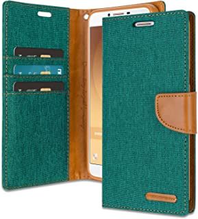 Galaxy J1 Ace Wallet Case with Free 4 Gifts [Shockproof] GOOSPERY Canvas Diary [Ver. Magnetic] Card Holder with Kickstand Flip Cover for Samsung GalaxyJ1Ace - Green, J1ACE-CAN/GF-GRN