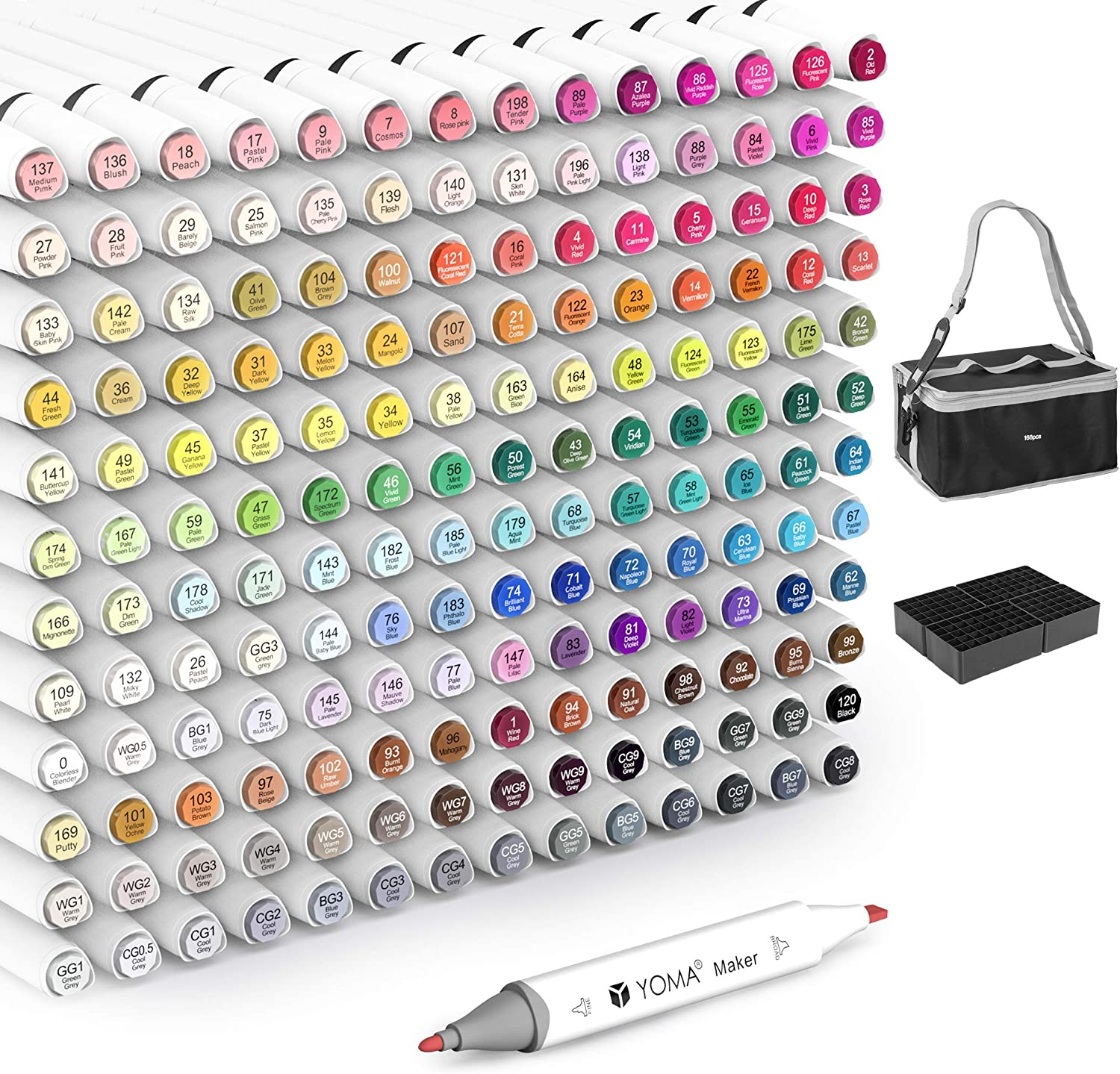 168 Colors Alcohol Markers Set, Dual Tip Permanent Sketch Marker Pens with Colorless Marker Blender Highlight Pens Holders Carry Bag for School Kids Adult Artists Drawing Coloring