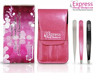 Express Beauty Boutique Tweezers 3pcs Set Pink Case Professional Quality Stainless Steel Precision Eyebrow Tweezer for Ingrown Hair Shaping Eyebrows.