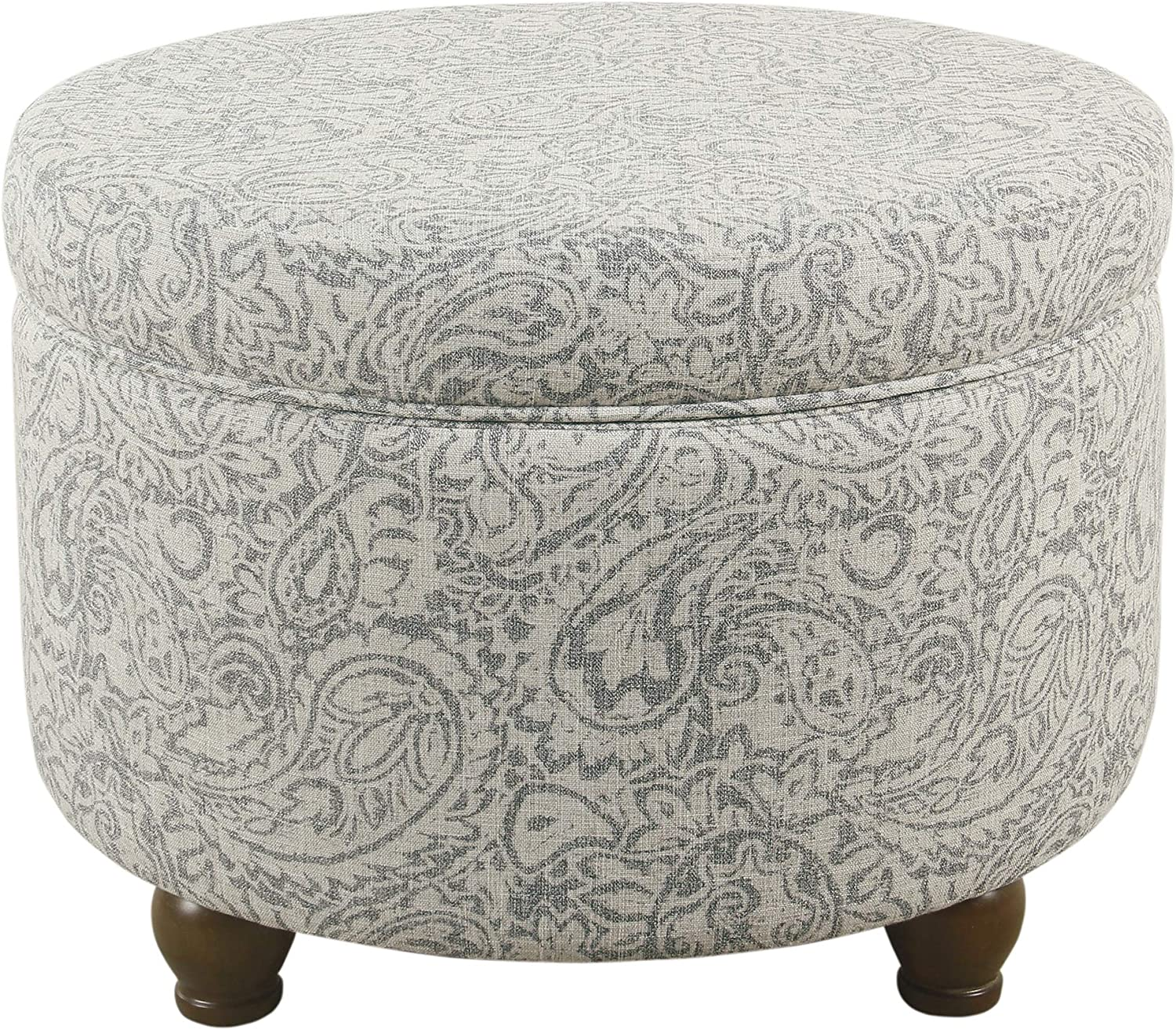 HomePop Upholstered Round Storage Ottoman Gray Lid Max 65% OFF San Jose Mall Floral with