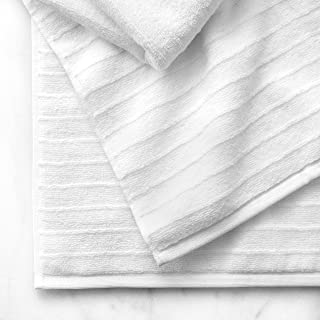 Welhome James 100% Cotton Textured Bath Towel Set of 4 (White) - Super Absorbent - Soft & Luxurious Bathroom Towels - Quick Dry - 4 Bath Towels