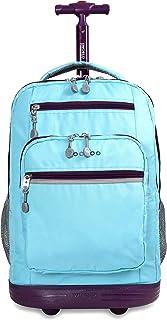 J World New York Sundance Rolling Backpack Girl Boy Roller Bookbag, Sky Blue, One Size