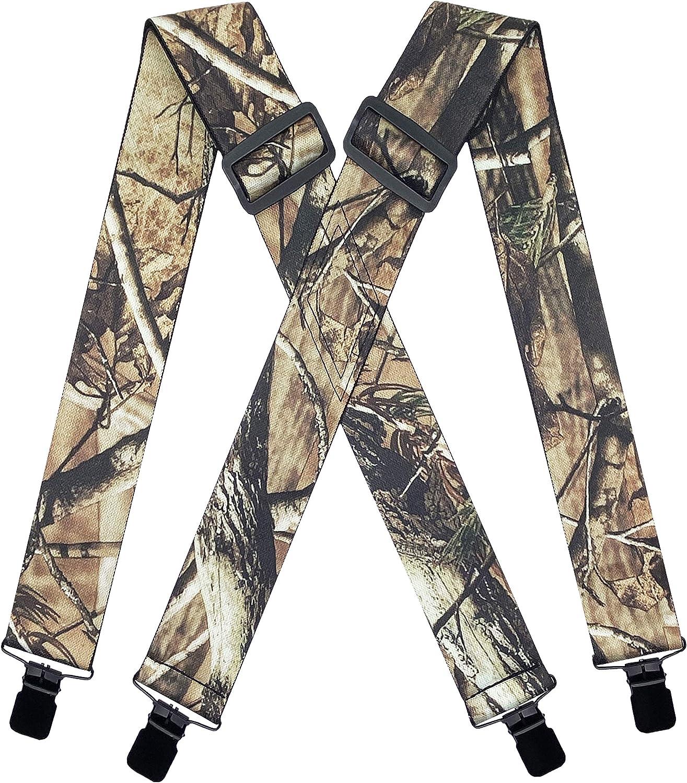 MENDENG 2 Pack Suspenders for Men Adjustable Braces X Back Leather Straps Formal