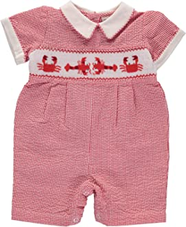 Carriage Boutique Boys Tan Long Romper with Scotty Dogs