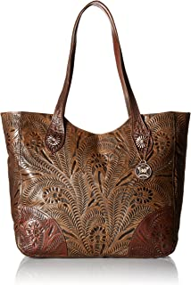 Annie's Secret Collection Tote Charcoal Brown Leather Zip Top