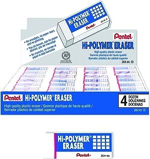 Pentel Hi-Polymer Block Eraser, Small, Box of 48 Erasers (ZEH-05)