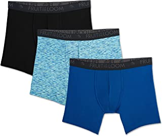 Fruit of the Loom Men's Breathable Lightweight Micro-Mesh Boxer Brief, Print/Solid,