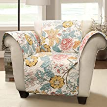 Lush Decor Sydney Furniture Protector-Floral Leaf Garden Pattern Armchair Cover-Blue and Yellow, Chair, Blue & Yellow