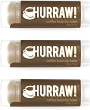 product image for Hurraw! Coffee Bean Lip Balm, 3 Pack: Organic, Certified Vegan, Cruelty and Gluten Free. Non-GMO, 100% Natural Ingredients. Bee, Shea, Soy and Palm Free. Made in USA