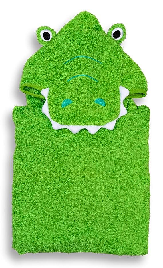 Hudz Kidz Hooded Towel for Kids & Toddlers, Ideal at Bath, Beach, Pool (Green Croc)