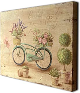 CVHOMEDECO. Primitive Vintage Hand Painted Wooden Frame Wall Hanging 3D Painting Decoration Art, Bicycle Flower Butterfly Design, 15-3/4 x 12 Inch